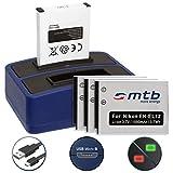 4 Batterie + Caricabatteria doppio (USB) per EN-EL12 / Nikon KeyMission 170, 360 / Coolpix AW100(s), P300, S70, S610, S610c… - vedi lista - Cavo USB micro incluso