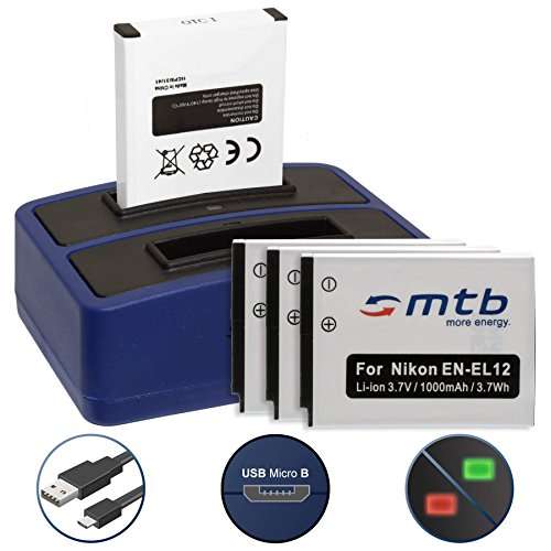 4 Akkus + Dual-Ladegerät (USB) für EN-EL12 / Nikon KeyMission 170, 360 / Coolpix AW100(s), P300, S70, S610, S610c... - Siehe Liste - inkl. Micro-USB-Kabel