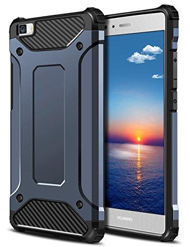 Huawei P8 Lite Hülle, Coolden Premium [Armor Serie] Outdoor Stoßfest Handyhülle Silikon TPU + PC Bumper Cover Doppelschichter Schutz Hülle für Huawei P8 Lite (Blau)