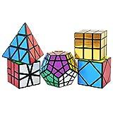 TOYESS Cubo Mágico Pack ,Pyraminx Piramide Speed Cube ,Megaminx Dodecaedron,Skewb Cube,Square One Cube,Gold Mirror Cube 3x3x3 Rompecabezas Cubo de Velocidad Cajas de Regalo Set para Adulto Niños,Negro