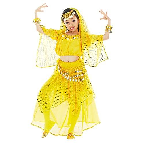 KINDOYO 5 Stücke Kinder Mädchen Shiny Bauchtanz Kostüme Kinder Ägypten Indische Tanz Outfits (Gelb , EU XS = Tag S)