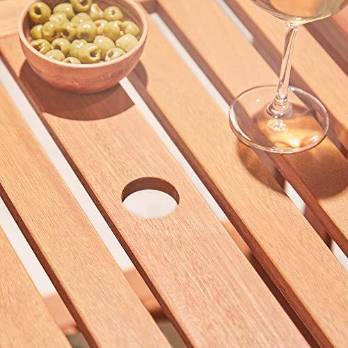 VonHaus Garden Love Seat Bench - 2 Seater Hardwood Outdoor Patio Furniture Set with Built-in Parasol Hole