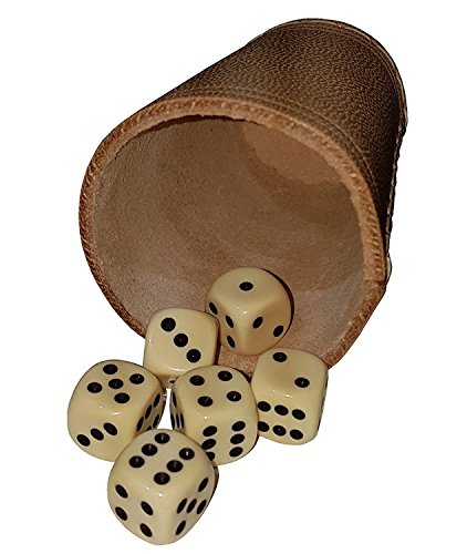 KSS Qualitäts Würfelbecher Lederwürfelbecher besonders Dickes Leder ! Ca 4-5 mm stark ! in Standartgröße + 6 Würfel ! -