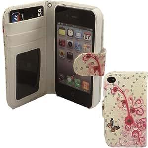 XSory Stop Étui portefeuille avec emplacement pour cartes de crédit pour iPhone 4/4S Motif papillon avec strass Blanc/rose