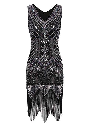 Swiftt Damen Vintage Abendkleid 1924er Gatsby Elegantes Cocktailkleid Partykleid Festlich Knielang...