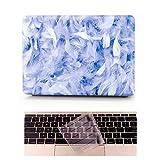 L2W Coque MacBook Air Occasion Prix Laptop Ordinateur Case Plastique Coque Rigide Housse pour Apple MacBook Air 13 pouces [Modèle:A1369/A1466] Incluant Transparent couvercle du clavier,Plumes bleues