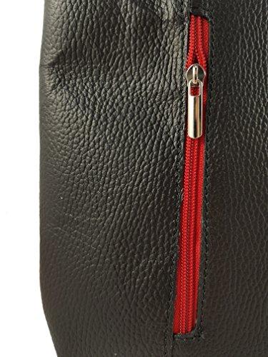 2 In 1 Borsa A Tracolla Borsa Di Design Di Lusso Realizzata In Vera Pelle In Vari Disegni In Pelle Liscia Nero-rosso