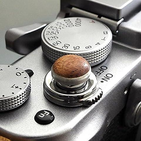 Soft Déclencheur en aluminium/ bois- Acajou (convexe, 10mm) pour Leica M-Serie, Fuji X100, X100S, X100T, X10, X20, X30, X-Pro1, X-Pro2, X-E1, X-E2, X-E2S et tous les appareils photos avec la bouche filetage conique