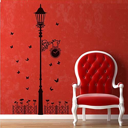 Liujiajiu Katzen vögel und straßenlaterne Lampe Post wandaufkleber Dekoration Schule Zimmer Kindergarten wandaufkleber,schwarz