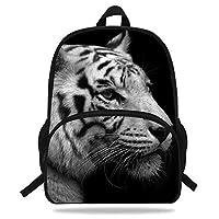 Popular White Tiger Print Backpack For Kids Boys Girls School (D1094)