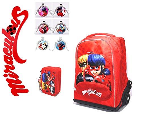 Zaino trolley scuola miraculous ladybug + astuccio 3 piani + collana ciondolo