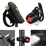 Koly Recargable Luz de Biciclet LED linterna delantera Bicicleta Ligero Bicicleta Lámpara Conjunto Frente Ligero Cola Ligero USB Luz trasera para bicicleta Luz roja para Bicicleta (Negro)