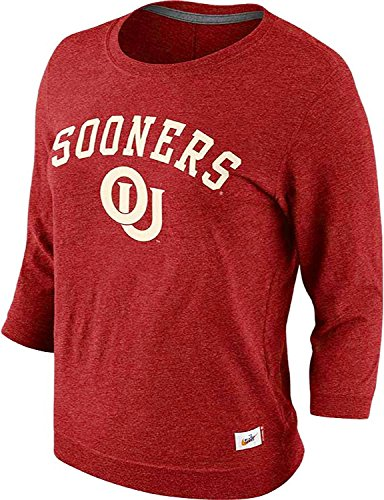 Nike Women's Oklahoma Sooners Vault Hail Mary 3/4 Sleeve Top (Small, Crimson Red) (Sleeve Top 3/4 Red)