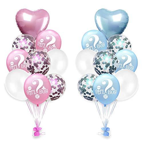 Lumanuby Deko Luftballons Set für Baby Dusche Taufe Herz, Wort und Pailletten Helium Ballon 'Girl or Boy' Latex und Aluminiumfolie für Babygeburt 18pcs, Ballon Serie 18zoll, 12zoll (Blau und Rosa) (Dusche Baby Boy Luftballons)