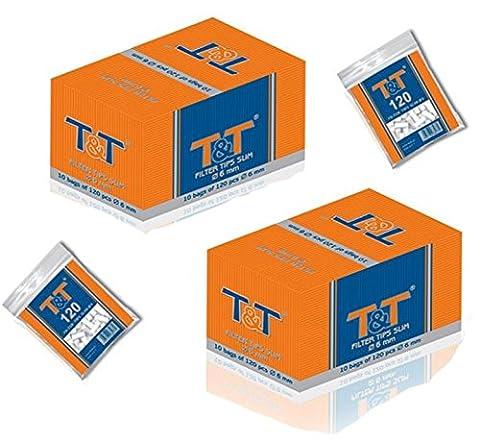 68 x 120 Filter Tips Slim Slim Filter 6 mm Drehfilter (8160 Stück) T&T Eindrehfilter slim tips Ideal auch für Zigarettenroller oder Zigaretten Drehmaschine