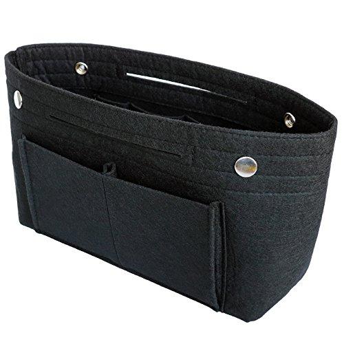 VANCORE Taschenorganizer Handtaschen Organizer Innentaschen für Handtaschen Filz, 8 Fächer (Schwarz, Klein) (Schwarze Handtasche Organizer)