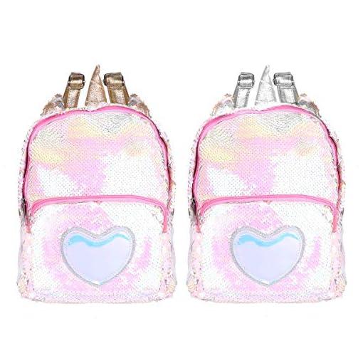 IEFIEL-Girls-Dazzling-Glittery-Sequins-Cartoon-Horse-Horn-Backpack-Christmas-Travel-Bag