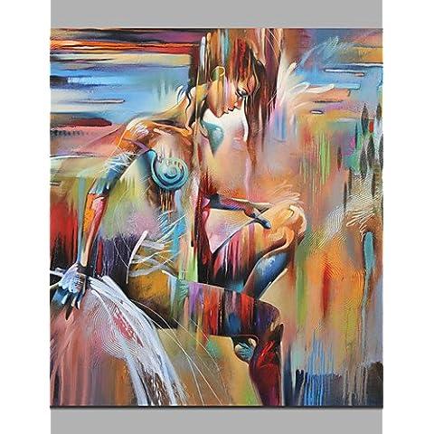 OFLADYH ® abstracta pintada a mano del arte abstracto de la pared moderna de alta calidad sobre lienzo chica desnuda pintura enmarcada del arte , with frame-20