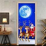 Arte della porta 3D, Adesivo per porte autoadesivo, Adesivo per porte Decorazioni natalizie Adesivo per porte Simulazione carrozza cervi luna porta in legno-90 cm * 200 cm
