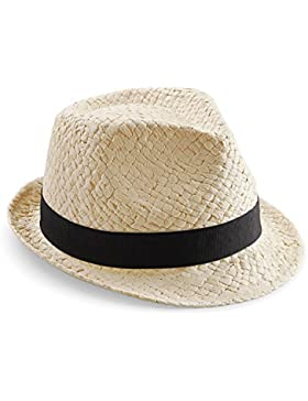 Beechfield - Sombrero de paja Modelo Trilby Festival Unisex Hombre Mujer - Fiesta / Ibiza