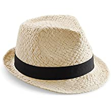 Beechfield - Sombrero de Paja Modelo Trilby Festival Unisex Hombre Mujer -  Fiesta Ibiza 97b8a3cfff9