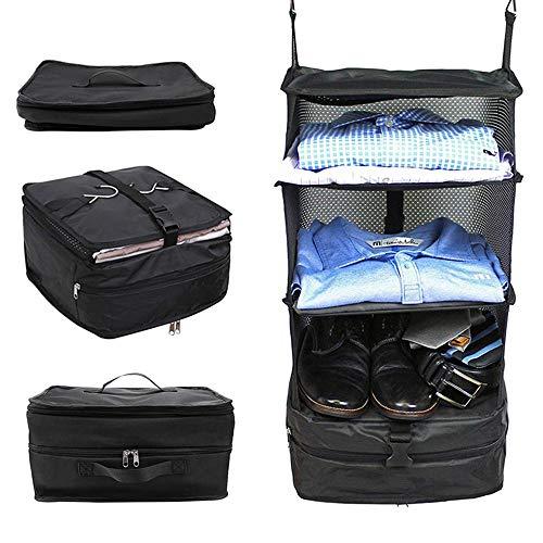 Organiseurs de Bagage Valise Sac d'emballage pour Voyage Housses Chaussures avec Suspension Extensible 3 étagères Penderie Portable pour Voyage d'affaires