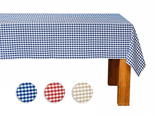 FILU Tischdecke 130 x 220 cm Blau/Weiß kariert (Farbe und Größe wählbar - hochwertig gefertigtes Tischtuch aus 100% Baumwolle