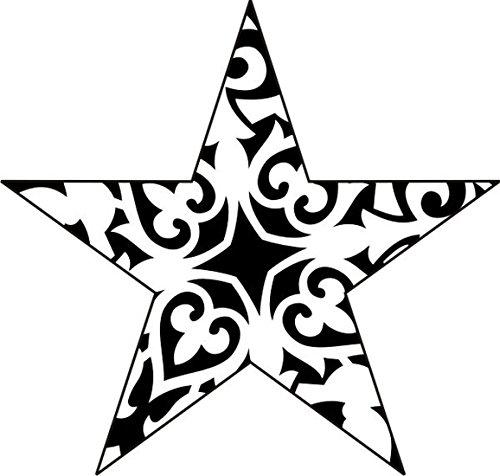 T-Shirt E1164 Schönes T-Shirt mit farbigem Brustaufdruck - Logo / Grafik / Design - abstraktes Ornament mit schönen Ranken und Blättern im Stern Mehrfarbig