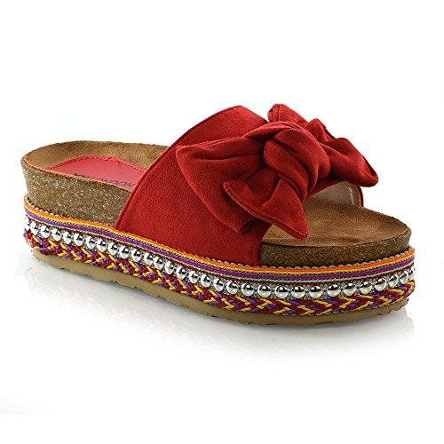 ESSEX GLAM Damen Keilabsatz Perle Besetzt Sandalen Frau Rot Wildlederimitat Plattform Peep Toe Schuhe EU 37 (Rote Sandalen Plattform)
