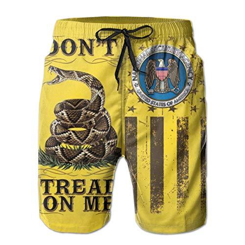 Don't Tread On Me Flag National Security Agency Men's Beach Shorts Swim Trunks - Swimsuit Athletic Shorts M Capezio Capris