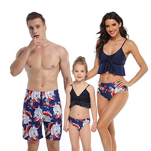 MoneRffi Familia Matching Traje de baño Padre-niño Traje de baño de Alta Cintura Color Superior impresión...