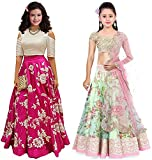 Market Magic World Girl's Pink & Pista Banglori & Bhagalpuri Semi Stitched Combo Pack lehenga Choli, Salwar Suit, Gown (Kids Wear_Free Size_8-12 Year age)