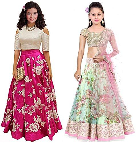 Market Magic World Girl's Pink & Pista Banglori & Bhagalpuri Semi Stitched...