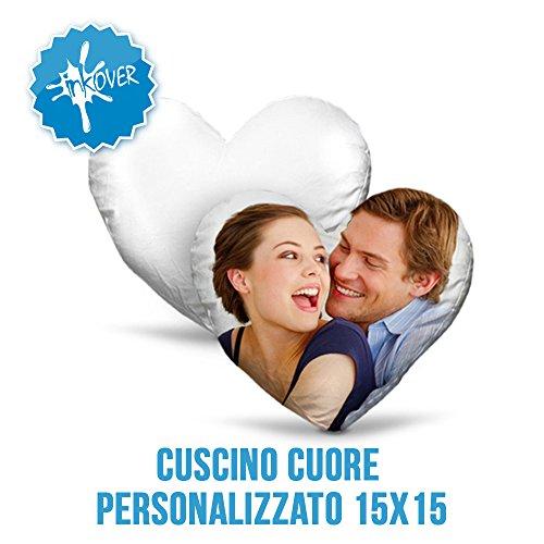 Inkover gadget personalizzato con foto fotografia a piacere immagine custom frase dedica regalo sorpresa cuscino a forma di cuore 15x15
