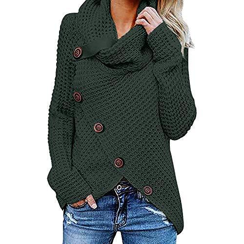 iHENGH Damen Herbst Winter Übergangs Warm Bequem Slim Mantel Lässig Stilvoll Frauen Langarm Solid Sweatshirt Pullover Tops Bluse Shirt (Grün-1, XL) -