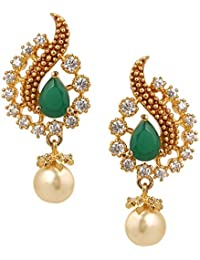 Sri Shringarr Fashion Traditional Micro Gold Polished American Diamond Earrings for Women.(EAR673BON)