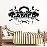 Hardcore Gamer Etiqueta de La Pared de Vinilo Decoración Para El Hogar Para Adolescentes Niños Dormitorio Sala de Juegos Dormitorio Controlador de Juego Calcomanías Videojuegos Murales63x42 cm