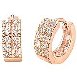 Beydodo Rose Gold Vergoldet Ohrstecker Für Damen(Clip-Ohrringe), Creolen Ohrringe Österreich Weiß Crystal CZ Zirconia
