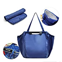Meliya Foldable Reusable Recycled Grocery Shopping Trolley Bag for Shopping Cart with Universal Clip, Blue