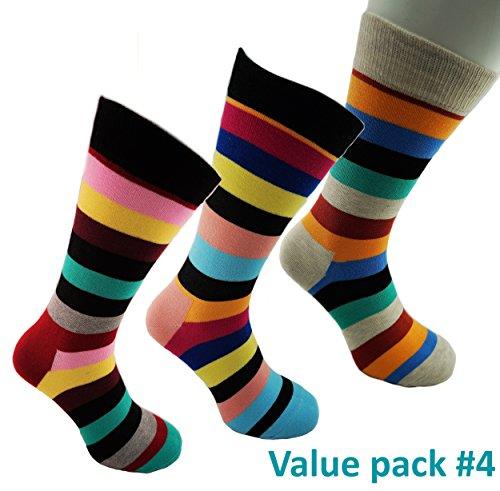 Bunte Herrensocken > Größe 40 bis 45 / Happy Business Socks Herren / Streifen Socken Bunt für Männer (40 - 45, Value Pack #4 - 3 Paar)