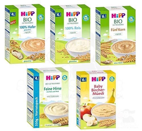 Hipp Bio Brei Mix, besteht aus 100% Hafer, 100% Reis, 5-Korn je 200g, Feine Hirse 350g, Bircher 250g