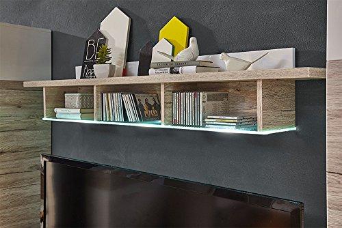 Wohnzimmerschrank, Wohnwand, Schrankwand, Anbauwand, Fernsehwand, Wohnzimmerschrankwand, Wohnschrank, weiß, Hochglanz, Eiche-Nb., Beleuchtung - 4