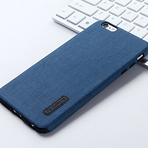 MOONCASE iPhone 6 Plus/iPhone 6s Plus Cover, Custodie Morbide TPU Antigraffio Antiurto Protettive [Fabric Pattern] Resiliente Armor Case Cover per iPhone 6 Plus/iPhone 6s Plus 5.5 Orange Dark Blue-1