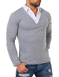 ReRock Herren 2in1 Longsleeve Hemd Kragen Shirt Pullover Langarm mit Tiefem  V-Ausschnitt Einfarbig Slimfit… 86f59ffa62