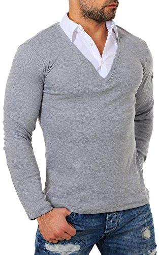 ReRock Herren 2in1 Longsleeve Hemd Kragen Shirt Pullover Langarm mit tiefem V-Ausschnitt einfarbig Slimfit Stretch, Grösse:XXL, Farbe:Grau