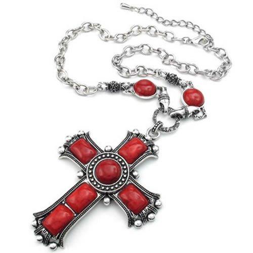 KONOV-Joyera-Collar-con-Colgante-de-hombre-mujer-Retro-Vintage-Grande-Gtico-Cruz-Cadena-Charms-Aleacin-Color-rojo-plata-con-bolsa-de-regalo