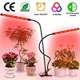 LED Plant Light, WAKYME 10 Dimmable Levels LED Grow Light Full Spectrum Plant Lamp with Auto ON & Off Memory Timer Dual Head Adjustable Gooseneck for Indoor Plants [with CE and RoHS Certification]