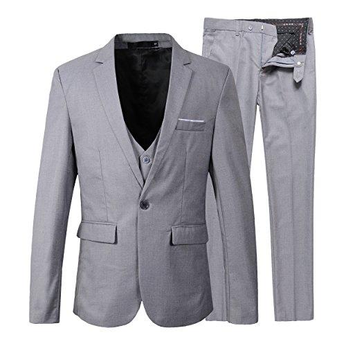 Herren Slim Fit 3 Pieces Anzug Blazer Anzugjacke (S, Grau) (Herren Grau Anzug)