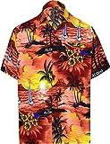 LA LEELA männer Hawaiihemd Kurzarm Button Down Kragen Fronttasche Beach Strand Hemd Manner Urlaub Casual Herren Aloha Hellrot_292 5XL Likre 538