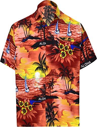 Herren Seide Lager T-shirt (LA LEELA männer Hawaiihemd Kurzarm Button Down Kragen Fronttasche Beach Strand Hemd Manner Urlaub Casual Herren Aloha HellRot_292 2XL Likre 538)